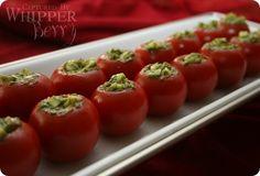 Mozzarella & Pesto Stuffed Tomatoes by Emily at WhipperBerry.