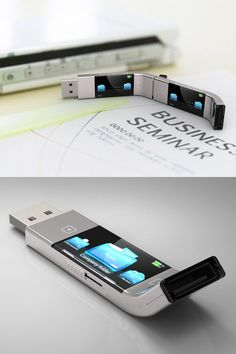 Unique and awesome product design - view files on the usb flash drive itself—no computer necessary High Tech Gadgets, New Gadgets, Gadgets And Gizmos, Cool Gadgets, Kids Gadgets, Baby Gadgets, Cooking Gadgets, Kitchen Gadgets, Futuristic Technology