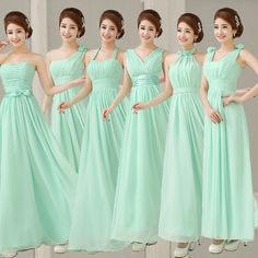 2017 New Hot Mint Bridesmaid Dress Party Dresses Long Chiffon Light Green Prom  Dress 4990b4478f23