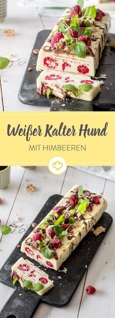 Verzichte auch im Sommer nicht auf deinen Lieblingskuchen: Kalter Hund mit weißer Schokolade, Hannover Waffeln und Himbeeren.