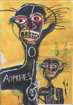 """Esthetic, bold colors, social protests, montages and critters """"Jean-Michel Basquiat"""" (December 1960 – August was an American artist began as an obscure graffiti artist… Jean Michel Basquiat Art, Basquiat Paintings, Art Alevel, Cool Art, Fun Art, Graffiti Art, American Artists, Altered Art, Art Boards"""