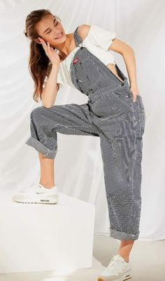 a59f4197de1 White Sneakers, Oversized Overalls, White off the shoulder crop top White  Off Shoulder,