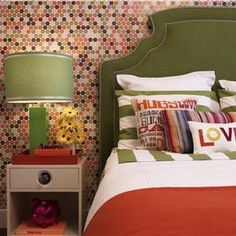 a tiled bedroom wall with nail trim headboard from the hgtv dream home az - Retro Bedroom