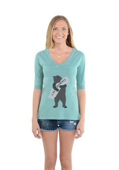 Show your love for California in style...we love you California. Football V-Neck Seafoam #ilovecalifornia #california #cali #printedtees