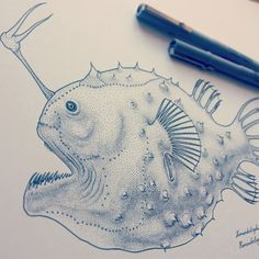 One of Jared Muralt's most dedicated and ambitious undertakings is his series Deep Sea Anglers, which grew out of the artist's desire to practice the technique of pointillism on a daily basis. Creating a number of entrancing sea creatures, his dot art technique is right on target. We can't wait to see more!