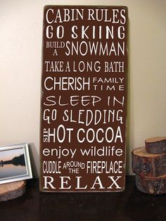 Cabin Rules -Vintage Style- Typography Sign