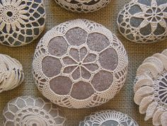 Crocheted Lace Stone Beige Handmade Pinkish Gray Stone by Monicaj, $52.00