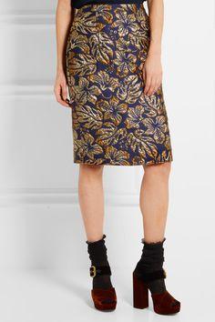 Prada - Metallic Floral-jacquard Pencil Skirt - Navy - IT36