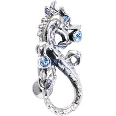 Sterling Silver 925 Swivel TOP DROP Aqua DRAGON Belly Ring   Body Candy Body Jewelry