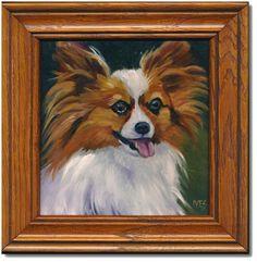 RKIves Original Oil Painting: Papillon Butterfly Dog Framed Art #Realism