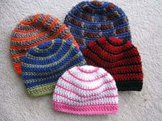 crochet beanie patterns in sizes baby to adult large