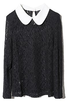 Lace Sleeve Black Blouse