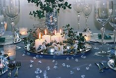 stylish Christmas table decoration silver blue white candles