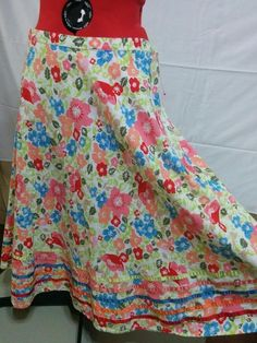 SALE! BUY IT NOW! Coldwater Creek Full Skirt Size Large Floral on White 100% Cotton Satin Trim  | eBay