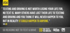 We're counting down the top reasons not to text and drive leading up to Global Youth Traffic Safety Month in May. What's your reason? Dont Text And Drive, Driving Quotes, Trauma Center, Distracted Driving, Open Letter, Losing You, Text Messages, Thinking Of You, Texts