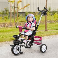 This baby stroller tricycle suitable for children provides them with 6 ways to ride, including a baby tricycle, steering tricycle, learning tricycle and classic tricycle. The adjustable pushrod on the back can help parents to better adjust the direction of the tricycle. Besides, the 360-degree rotatable seat increases the face-to-face interaction between the kids and the parent and helps the baby appreciate the outside scenery. Damping wheels with brakes have high wear resistance, can…