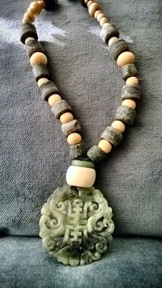 OOAK- Jade carved chinese vintage focal and cow bone and old green marble handmade beads strand