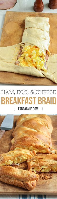Ham, egg, and cheese croissant breakfast braid - it feeds a crowd!