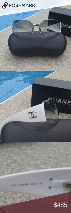 1 HR SALE REDUCED SHIPPING CHANEL SUNGLASSES White and silver CHANEL sunglasses. Give your everyday some amazing style. A real head turner 'cause it's not something you see every day! Everyone buys basic black, you're style is unique!   PRICE WILL GO BACK UP  Chanel not available for bundle. CHANEL Accessories Sunglasses