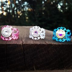 """Pistol Shell Filigree Rings - """"Pink Shimmer"""", """"Denim"""", and """"Lace"""" on Etsy, $15.00"""