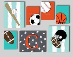 Baby Boy Nursery Art Boys Sport Prints Boys by inkspotsgallery