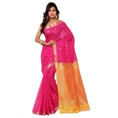 Pink Chanderi Designer #Saree With Blouse- $37.44