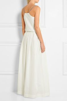 Brunello Cucinelli Beaded cotton-blend poplin maxi dress