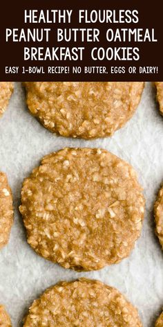 These Healthy Flourless Peanut Butter Oatmeal Breakfast Cookies are soft, chewy & SO good! They're super easy to make too. You just need 1 bowl! (Naturally gluten free, dairy free, egg free & vegan!) ♡ easy vegan peanut butter oatmeal breakfast cookies for kids. best clean eating gluten free oatmeal breakfast cookies. ww eggless low calorie breakfast cookies recipe. Oatmeal Breakfast Cookies, Breakfast Cookie Recipe, Healthy Breakfast Cookies, Healthy Low Calorie Breakfast, Vegan Gluten Free Breakfast, Clean Eating Breakfast, Oatmeal Peanut Butter Cookies, Gluten Free Oatmeal Cookie Recipe, Healthy Cookies For Kids