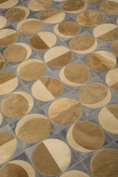 "Edelman Leather ""sun and moon"" cowhide rug in Pearl Grey & more."