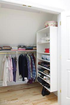 Under Eaves Storage Closet - low hanging clothes bar Eaves Storage, Loft Storage, Storage Design, Built In Storage, Bedroom Storage, Attic Master Suite, Master Closet, Attic Rooms, Attic Spaces