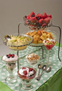 Trifle or parfait bar.  Neat ideal and your guests decide what they want.
