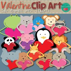 Cute, silly animals with hearts. Valentine's Day clip art. Commercial Use