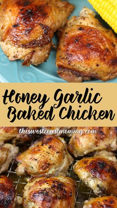Honey Garlic Baked Chicken Thighs - Favorite Recipes Honey Garlic Baked Chicken Thighs Sweet and savoury, but not too sweet. Chicken Quarter Recipes, Garlic Chicken Recipes, Garlic Butter Chicken, Garlic Sauce, Honey Garlic Chicken Thighs, Baked Boneless Chicken Thighs, Honey Baked Chicken, Grilled Chicken Thigh Marinade, Baked Chicken In Crockpot