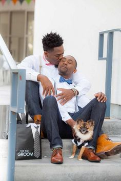 Fort Lauderdale stylish engagement session |  Innovative Arts Photography | filed under: gay, black, Florida, LGBTQ, same-sex weddings, style, grooms, pets, love, equality, Equally Wed, bow ties, dogs, kiss