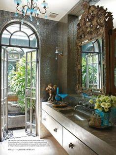 ornate bathroom - Vogue Living by estelle, powder room, guest bathroom. repinned by Anna Hackathorn Interior Design, www.annahackathorn.com
