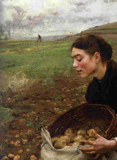 Jules Bastien-Lepage.   Saison d'octobre, récolte des pommes de terre (1879) detail