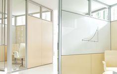 Whiteboard and tackboard fascias are also available. Modular Walls, Office Furniture, Drywall, Whiteboard, Architecture, Interior, Home Decor, Erase Board, Arquitetura