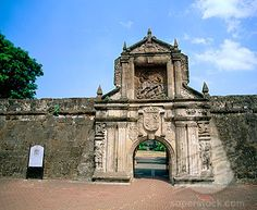 The amazing Fort Santiago gate at Intramuros. Note the sculpted frieze.