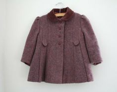 Vintage Wool Tweed Swing Coat Toddle Jacket Size 3T