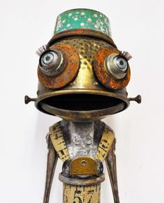 "This little found object sculpture (""Frog"") was created by Haley Kendal, and it hits me in my happy spot big time!"