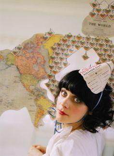 Vintage maps & Zooey! @delightfuldozen.com