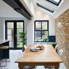 Our bespoke windows and doors were the perfect choice to complement this lovely kitchen in SW London✨ . Victorian Kitchen Extension, Windows And Doors, Skylight Kitchen, House Design, Open Plan Kitchen Living Room, Open Plan Kitchen, Kitchen Interior, London Kitchen, Victorian Terrace House
