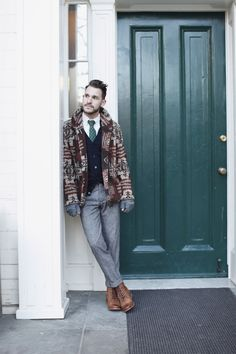 Dustin Tyler Moore—paisley tie from tallia, jacket from Denim & Supply, and boots from J.D. Fisk