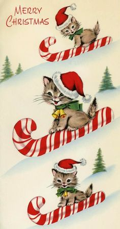 vintage Christmas kittens sledding on candy canes