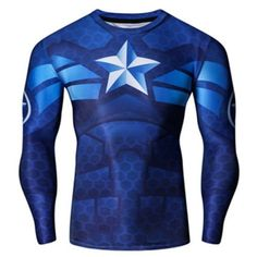 Vogue Skinny street styles Round Neck America Captain Print Quick-Dry Men's Superhero Long Sleeves T-Shirt. Material: Cotton,Spandex Sleeve Length: Full Collar: Round Neck Style: Fashion Weight: Package Contents: 1 x T-Shirt Embellishment: Print. 3d T Shirts, Cheap Shirts, Cool Shirts, Super Hero Shirts, Super Hero Outfits, Skinny, Workout Shirts, Sport Outfits, Shopping