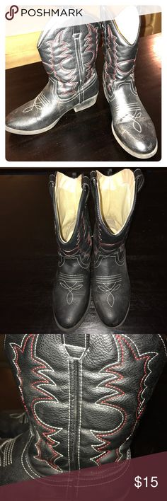 Black Red Cowboy Boots Gently used condition. Pull up straps. Size 5 Youth some staining that may come clean on the inside fabric. Rock & Roll Cowgirl Shoes Boots