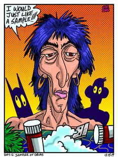 Day Sampler of Drugs Daily Drawing, Drugs, December, Comic Books, Comics, Drawings, Day, Comic Strips, Comic Book