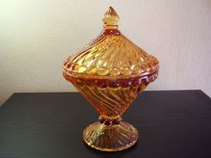 "Westmoreland Glass ""Swirl and Ball"" Amber aka Golden Sunset Compote w/ Lid, 7 x 5 Westmoreland Glass, Candy Jars, Amber Glass, Antique Glass, Vase, Antiques, Ebay, Sunset, Antiquities"