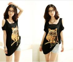 Fashionable and Casual Scoop Neck Off-The-Shoulder Night Owl Print Bat-Wing Short Sleeve T-Shirt For Women (BLACK,FREE SIZE) China Wholesale - Sammydress.com