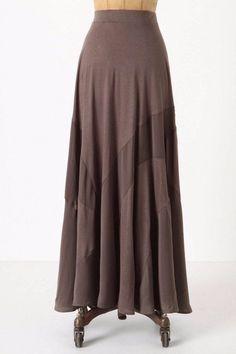 Odille Anthropologie Sz M Taupe Brown Mixed Media Maxi Skirt | eBay